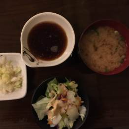 clockwise: tsukemono, tempura sauce, miso soup, tossed salad